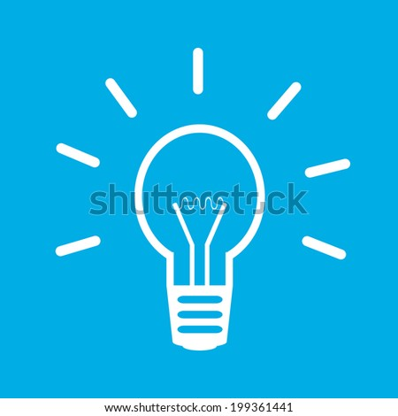 Light bulb icon on blue background. - stock vector