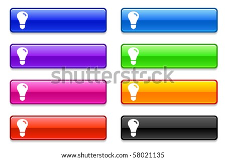 Light Bulb Icon on Long Button Collection Original Illustration