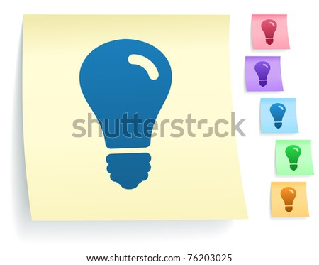 Light Bulb Icon on Post It Note Paper Collection Original Illustration - stock vector