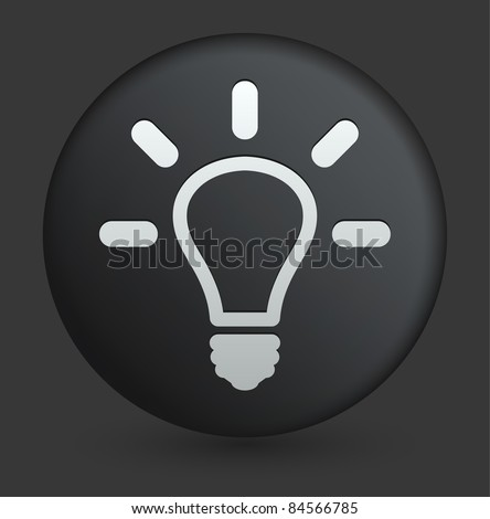 Light Bulb Icon on Round Black Button Collection Original Illustration - stock vector