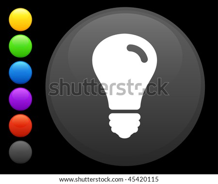 light bulb icon on round internet button original vector illustration 6 color versions included - stock vector