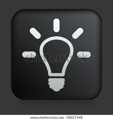 vector square blue icon lighting bulb. light bulb icon on square black internet button original illustration vector blue lighting