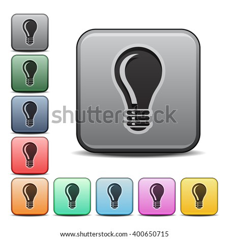 vector square blue icon lighting bulb. light bulb icon square with color variations vector blue lighting