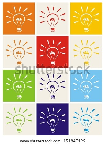 Light bulb icon vector set hand drawn colorful doodle collection isolated on white with green, blue, dark denim, beige, red, orange and yellow background. Sign of ecology thinking, creative invention.