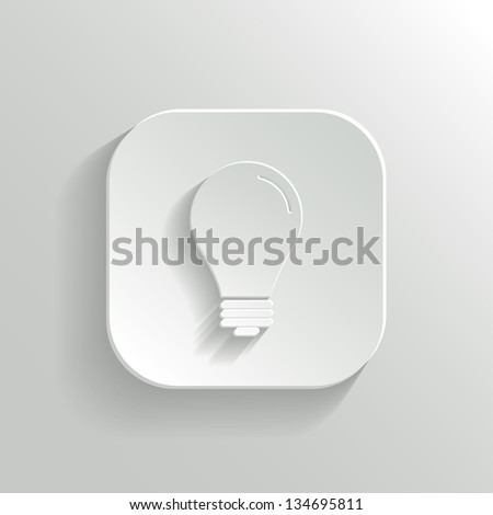 Light bulb icon - vector white app button with shadow - stock vector