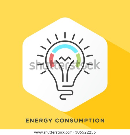 Light bulb icon with dark grey outline and offset flat colors. Modern style minimalistic vector illustration for energy consumption and economic growth relationship. - stock vector