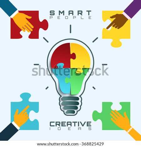Light bulb icon with jigsaw puzzle pieces inside. Smart people, bright ideas conceptual business background. Vector illustration. - stock vector