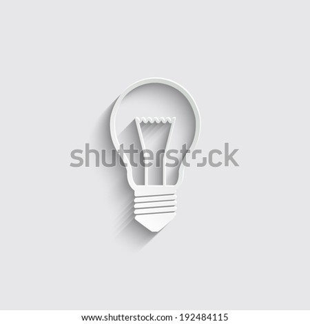 Light bulb icon with shadow on a grey background - stock vector
