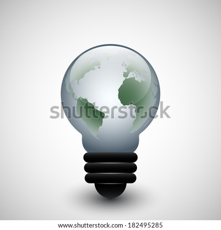 Light bulb icon with World map inside