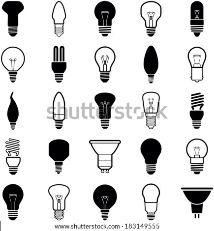 Light bulb icons - vector illustration collection - stock vector