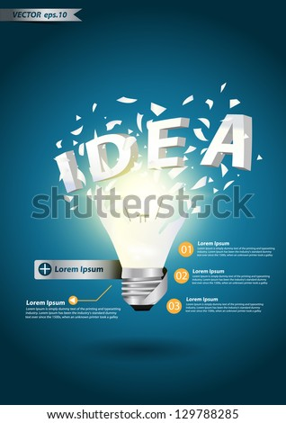 Light bulb idea alphabet explode concept, With Modern Design template / infographics vector illustration