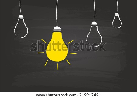 Light Bulb Idea Concept On Blackboard - stock vector