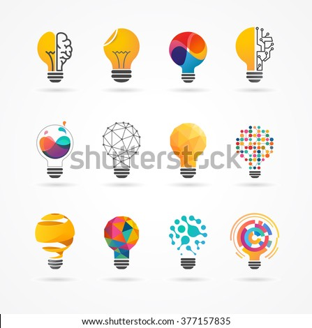 Light bulb - idea, creative, technology icons - stock vector