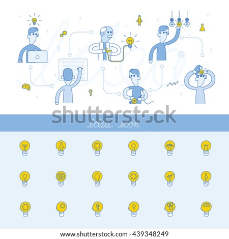 Light bulb - idea, creative, technology icons,Concept of education and science, the functioning of the human body and the brain info graphics, Vector illustration of brain maze - stock vector