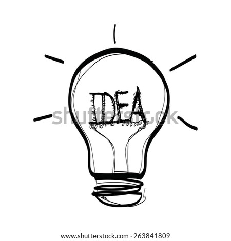 light bulb idea hand drawn vector on white background - stock vector