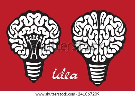 Light bulb idea human brain on red background - stock vector