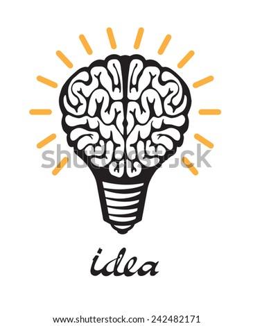 Light bulb idea. human brain on white background. isolated  - stock vector