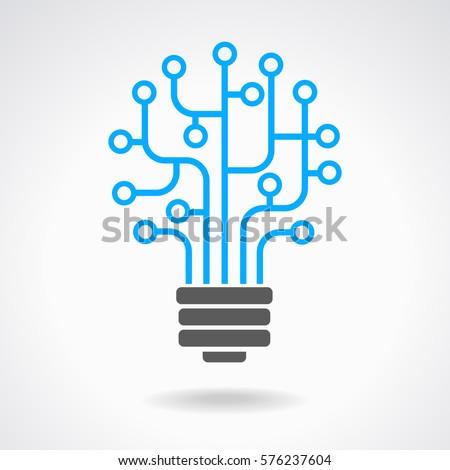 Light Bulb Idea Icon Circuit Board Stock Vector 576237604 - Shutterstock