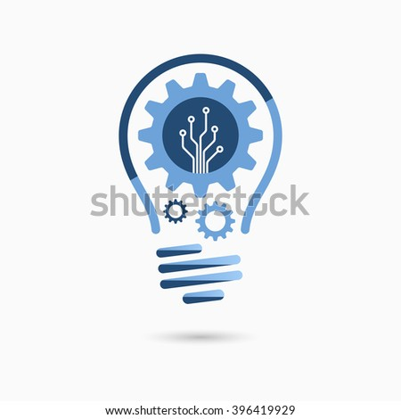 Light bulb idea icon with gears and circuit board inside. Business idea concept. - stock vector