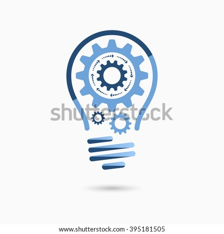 Light bulb idea icon with gears inside. Business concept. - stock vector