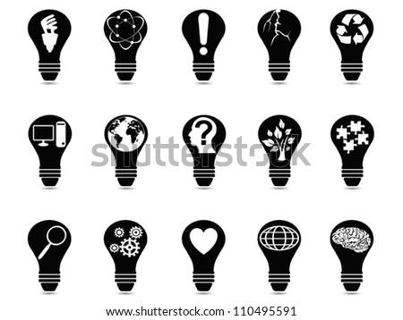 light bulb idea icons set - stock vector