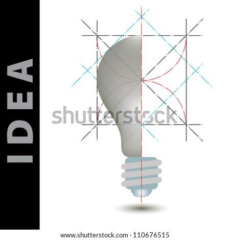 light bulb idea vector illustration and science construction - stock vector