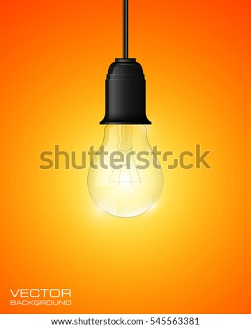 Light bulb illuminated, realistic vector illustration. stylish conceptual digital idea design background