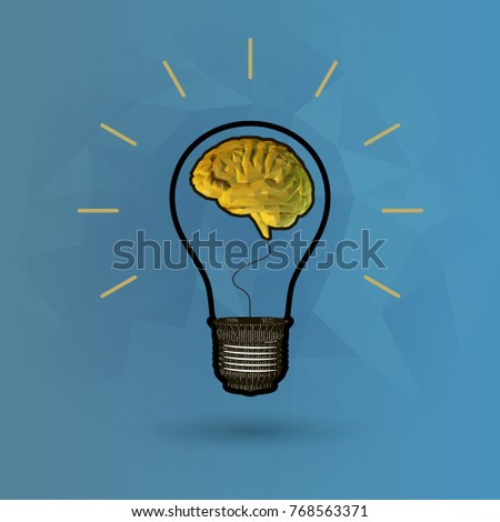 Light bulb illustration with golden low poly brain glowing on low poly background