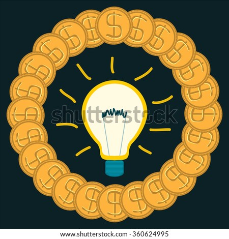 Light bulb in a circle of gold dollar coins. The cost of electricity. New ideas, innovations. Business idea for money. - stock vector