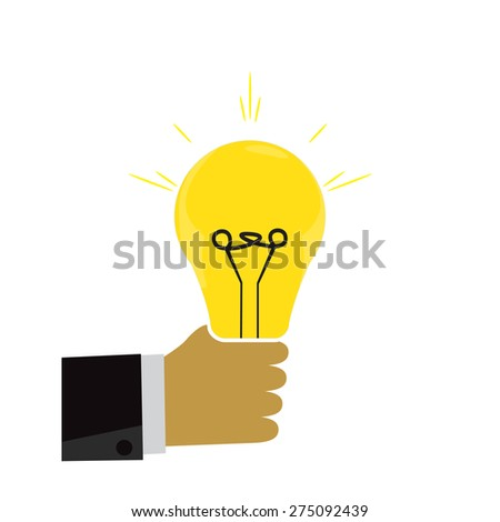 Light bulb in hand. Icon - stock vector