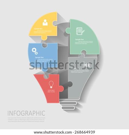Light bulb jigsaw puzzle template.Vector Eps10 - stock vector