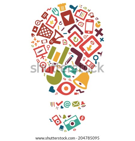light bulb made of media and communication icons, symbolizing creativity and innovation - stock vector