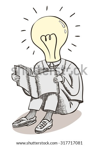 Light bulb moment man. Brain power and great ideas. A conceptual line drawing with crosshatch shading of a man in a suit, with a lightbulb head reading a book. - stock vector