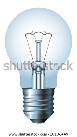 Light bulb - no mesh, blend and gradient only - stock vector
