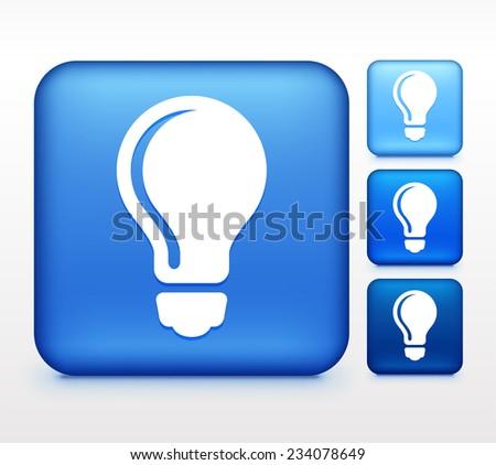 vector square blue icon lighting bulb. light bulb on blue square button vector icon lighting h