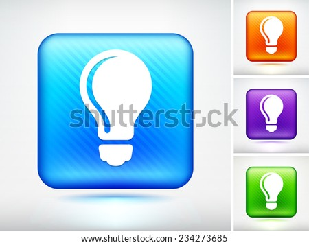 vector square blue icon lighting bulb. light bulb on blue square button vector icon lighting c