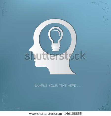 Light bulb on brain symbol,vector - stock vector