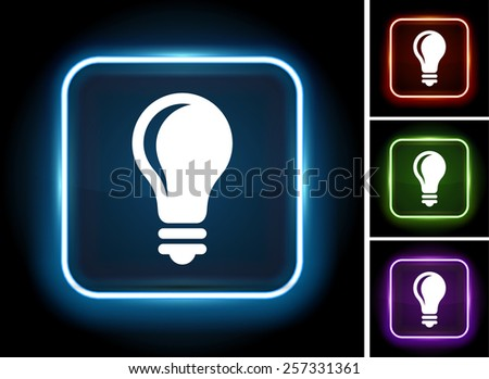 vector square blue icon lighting bulb. bulb colorful vector icon design light on glow square button blue lighting v