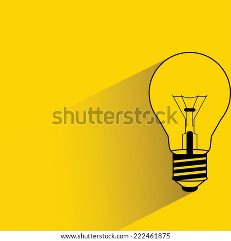 light bulb on yellow background, flat and shadow design