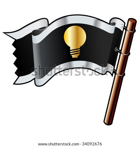 Light bulb or idea icon on black, silver, and gold vector flag good for use on websites, in print, or on promotional materials