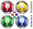 Light bulb or idea icon on round colorful vector buttons suitable for use on websites, in print materials or in advertisements.  Set include red, yellow, green, and blue versions. - stock vector