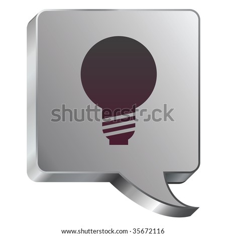 Light bulb or idea icon on stainless steel modern industrial voice bubble icon suitable for use as a website accent, on promotional materials, or in advertisements. - stock vector