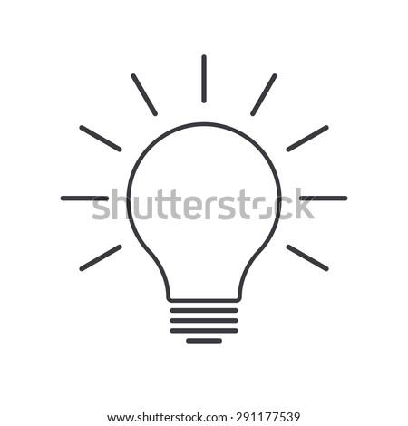 Light bulb outline icon, modern minimal flat design style, thin line vector illustration. Idea symbol - stock vector