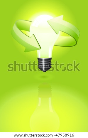 Light bulb over a green background with recycling symbol. Vector image.