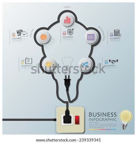 Light Bulb Shape Electric Wire Line Diagram Business Infographic Design Template - stock vector