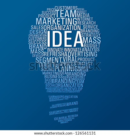 Light bulb shape with marketing concept words on blue background. Vector file layered for easy manipulation and custom coloring. - stock vector