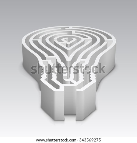 Light bulb shaped maze - stock vector