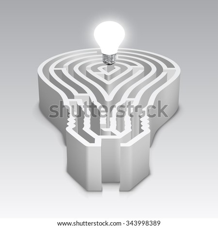Light bulb shaped maze with a shining light bulb - stock vector
