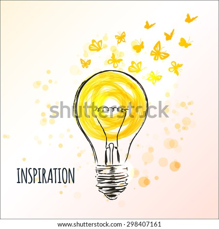 Light bulb sketch with flying butterflies - Concept of inspiration. Doodle hand drawn sign. Vector Illustration - stock vector