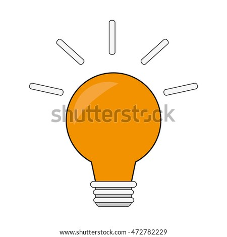 light bulb striped power energy  icon. Flat and isolated design. Vector illustration